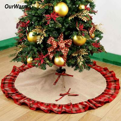 Pastoral Style Christmas Tree Skirt 48in Burlap Black Red Plaid Tree Decorations
