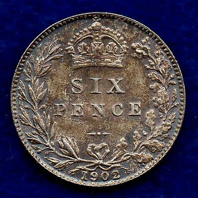 Great Britain, Edward VII, 1902 Sixpence, High Grade (Ref. c5269)