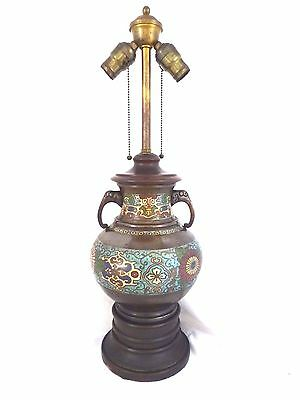 Antique Asian 2-Handle Cloisonne Bronze Vase Converted to 2-Bulb Pull Chain Lamp