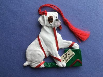 Boxer Puppy-Don't open til Christmas-Brindle patch-Artist sculpted Dog Ornament