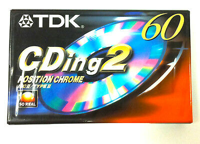 TDK CDing2 60 Chrome Blank Audio Cassette 60 Minute Tape New Sealed Stock