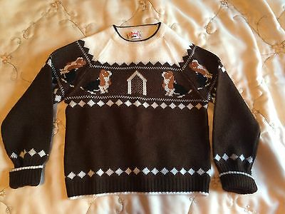 vintage 1950's boy's sweater, puppies, dog house