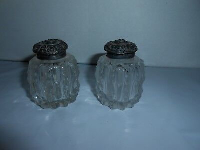Htf Antique Cut Glass/crystal Salt & Pepper Shakers Stamped Sterling Silver Tops