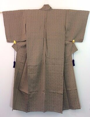 Authentic Japanese light brown polyester kimono for women, small, used (G1720)