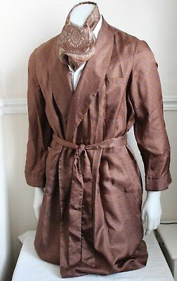 vintage TOOTAL brown paisley silky dressing gown smoking jacket 60s mens M