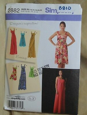 Simplicity 2882 Misses Dress in 3 lengths Size 14 16 18 20 22