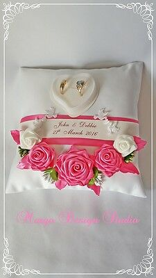 PERSONALISED wedding ring cushion pillow