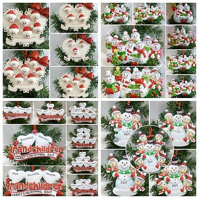 """Personalised Xmas Tree Decorations Choice Of """"4 Designs"""" 2-10 Names + Gift Bag"""
