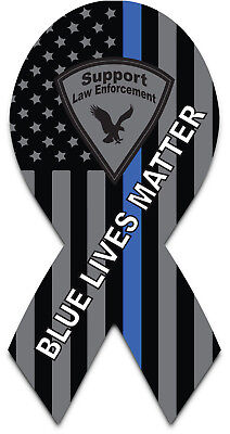 3 Pack Thin Blue Line American Flag Memorial Ribbon Magnet - Blue Lives Matter