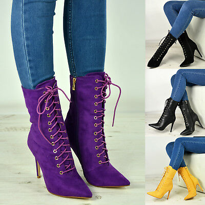 New Womens Ladies High Top Lace Up Ankle Boots Stiletto High Heels Zip Shoes