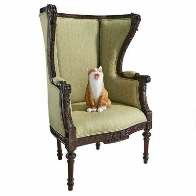 """Antique Replica French Hand-Carved Solid Wood 45"""" Louis XVI Wingback Armchair"""