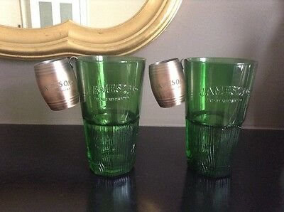 Jameson Whisky Green Glasses & Copper Shot Barrels X 2 New Secret Santa gift?