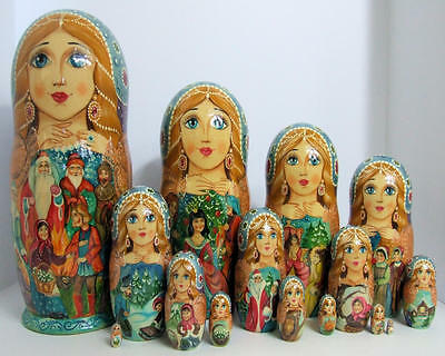 "15pcs Hand Painted One of a KInd Russian Nesitng Doll ""Twelve Months"" by Frolova"