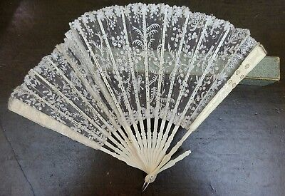 Pretty Antique Boxed Fine Lace Butterfly Carved Bovine Bone Hand Fan Victorian