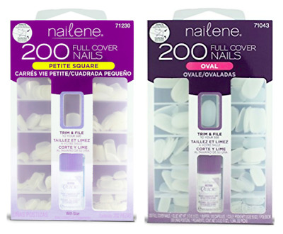 Nailene Full Cover Plain Nails Oval or Petite Square 200 Pack 71043 71230 BNIP