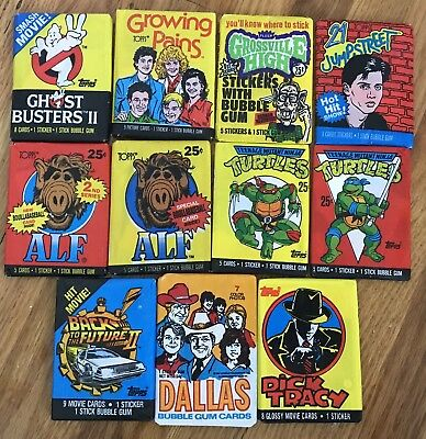 11 Sealed Packs 80's Party TV Show Movie Trading Cards Dallas Ghostbusters