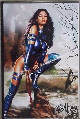 Greg Horn 11X17 Signed Print Psylocke On Rock With Sword X-Men Marvel Comics New