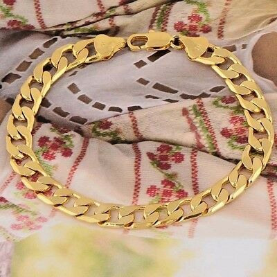 Fashion Men's 24K Yellow Gold-color Posh Curb Chain Bracelet 8 Inches