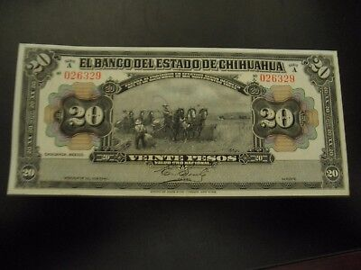 Mexico Chihuahua 20 peso Revolutionary note Uncirculated