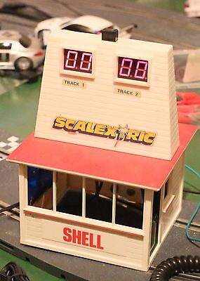 Vintage  Scalextric Lap counter display & building & special track pieceas shown