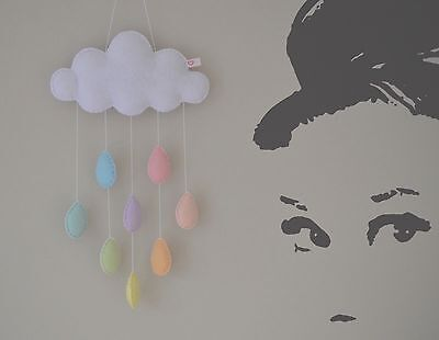 Pastel cloud rainbow raindrops hanging nursery mobile crib wall decoration baby
