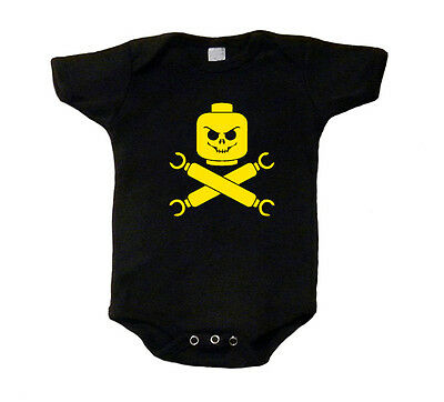 Lego Jolly Roger Baby T-Shirt Funny Cute Shirt One Piece Romper Geek Snap Tee