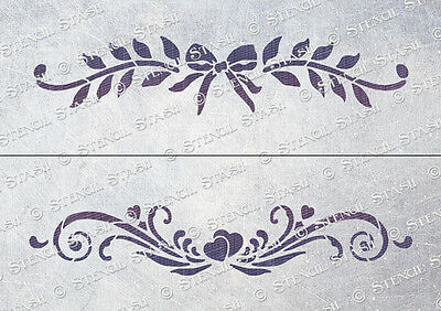 Hearts & Bows 2x STENCILS A4 HB Vintage Chic French Furniture SUPERIOR 250 MYLAR