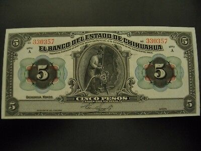 Mexico Chihuahua 5 peso Revolutionary note Uncirculated