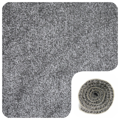 SOFT 9mm THICK Dark Grey Silver Grey Felt Back 4m Wide Carpet £6.99Sqm