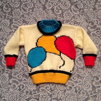 Toddler Unisex thick knitted balloon print long sleeve sweater Size 2T-4T