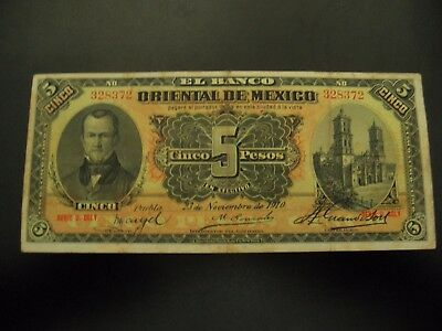 Mexico  5 peso Bank of Eastern Mexico  1910 AU condition
