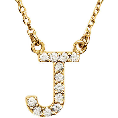 """14K Yellow Gold Diamond 'J' Initial Letter Charm Pendant with 18"""" Chain Necklace"""