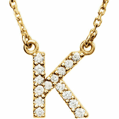 """14K Yellow Gold Diamond 'K' Initial Letter Charm Pendant with 18"""" Chain Necklace"""
