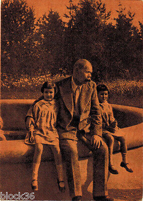 1961 Russian card MAXIM GORKY with his granddaughters in 1932 in Gorki resort