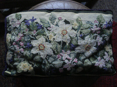 Vintage Completed Floral Tapestry Cushion Cover Needlepoint Velvet Backed