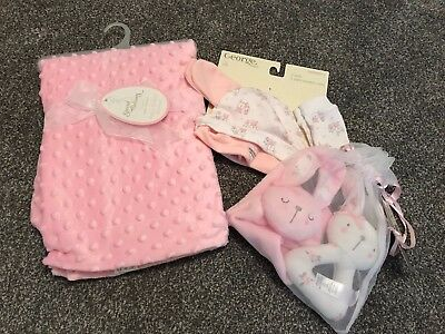 New Baby Girl Gift Set, Present. Blanket, Rattle, Hats, Mitts. Pink, Rabbits