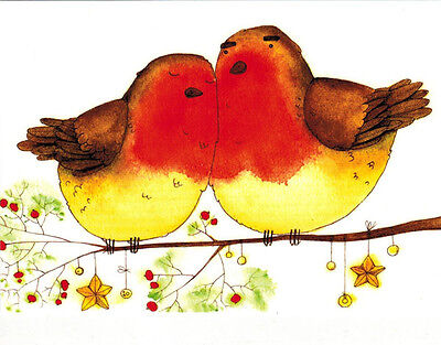 TWO REDBREASTS TOGETHER beautiful modern postcard English / Ukrainian captions