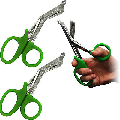 Surgimax Heavy Duty Large 18cm Tuff Kut Paramedic Shear Scissors Green Twin Pack