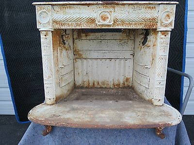 Antique Cast Iron Fireplace Vintage Hearth Firebox Fire Architectural Old Rare