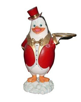 Penguin Butler 3 ft.  Red Top Hat with Tray and Bow Tie Bird Decor Display