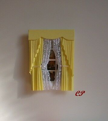 Dollshouse Curtains Lemon  Swag With Tied Nets