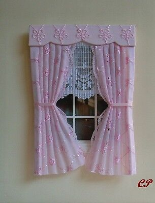 Dolls House Curtains Pink Broderie Anglaise