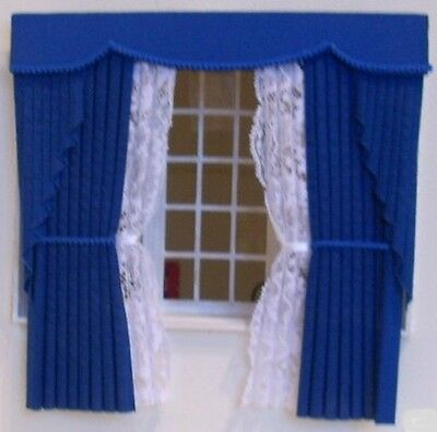 Dolls House Curtains Royal Blue Swag Outside Bay