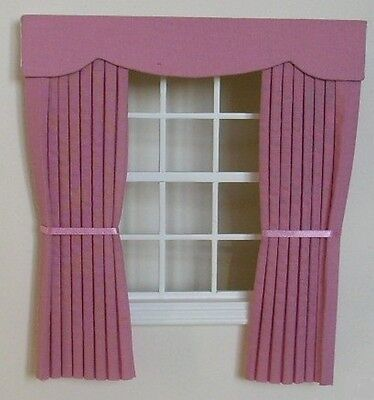 Dolls House Curtains Dusky Pink Outside Bay
