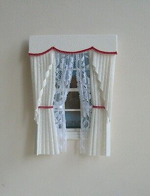 Dollshouse Curtains Cream & Red Swag With Tied Nets