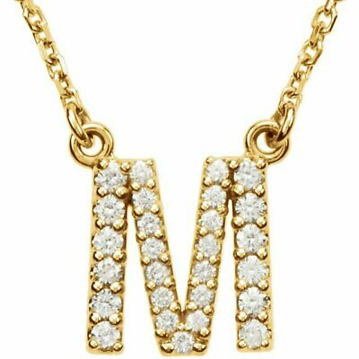 "14K Gold Diamond M Initial Letter Charm Pendant with 18"" Rolo Chain Necklace"