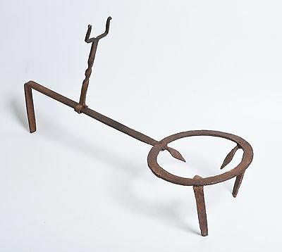 Antique Signed: CV wrought Iron Fireplace Hearth Spider Trivet adjustable primit