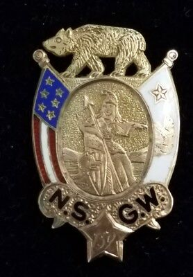 California NSGW Native Sons Of The Golden West 14k Gold Badge Enameled PAT 1887