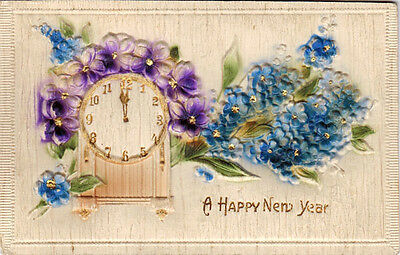 ca 1910 New Year Embossed two-layered postcard CLOCK AND FLOWERS publ in Germany