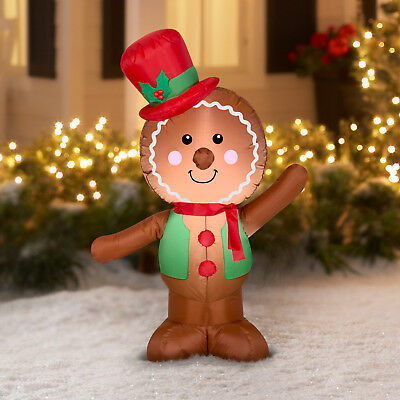 4ft Gemmy Airblown Inflatable Christmas Gingerbread Boy Santa Outdoor Holiday